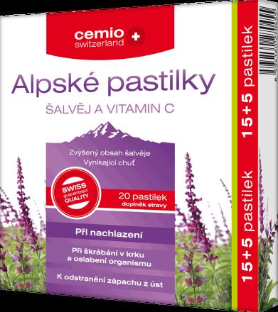 Cemio Alpské pastilky ŠALVIA + VITAMIN C 15+5 pastiliek