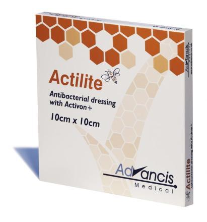 Actilite 10x10cm krytie antimikrob.nepriľnavé s medom 10ks