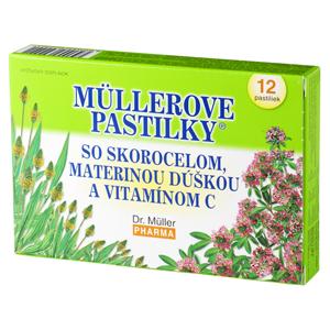 Müllerove pastilky® so skorocelom, materinou dúškou a vitamínom C 24ks