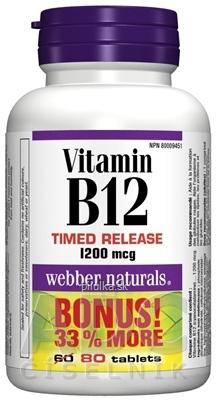 Webber Naturals Vitamín B12 1200mcg  80ks postupné uvoľňovanie