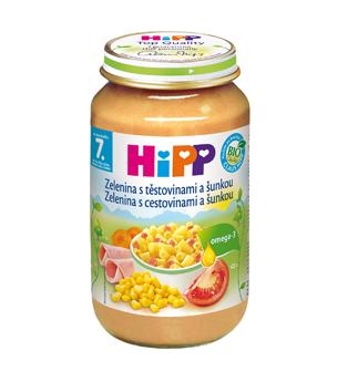 HiPP BIO Zelenina s cestovinami a šunkou 220g