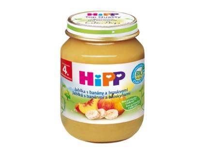 HiPP BIO Jablká s banánmi a broskyňami 125g
