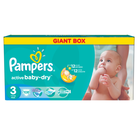 PROCTER GAMBLE Pampers Active Baby 3 Midi 4 - 9 kg 108 ks