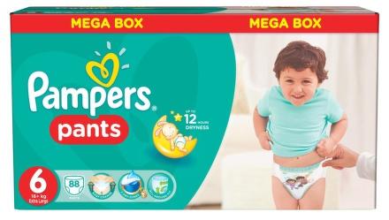 PROCTER GAMBLE Pampers Pants 6 Extra Large (16+ kg) MEGA BOX 88 ks