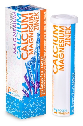 ROSEN Zinok, Magnézium, Calcium Šumivé tablety 20 tabliet