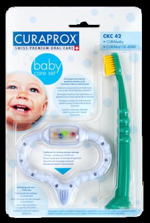 Curaprox Baby care set /hryzátko+kefka modré