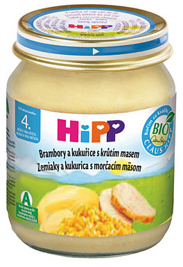HIPP BABY MENU Zemiakové pyré s kukuricou a morčacím mäsom 125g
