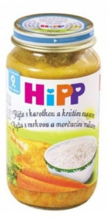 HiPP BIO Ryža s karotkou a morčacím mäsom 220g