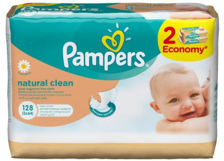 Pampers Wipes 2x64 ks Natural Clean náplň