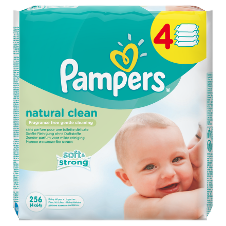Pampers Wipes Natural clean 4x64 ks