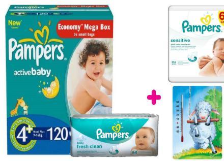 PROCTER GAMBLE Pampers balíček Active Baby 4+ Maxi+ 120ks + Wipes Sensitive 6x56ks + darček izbový teplomer