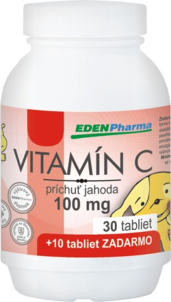 EDENPharma Vitamín C 100mg jahoda 30+10tbl zdarma
