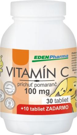 EDENPharma Vitamín C 100mg pomaranč 30+10tbl zdarma
