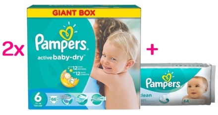 Pampers Active Baby 6 15+ kg Extra Large 2x66 ks (132ks)