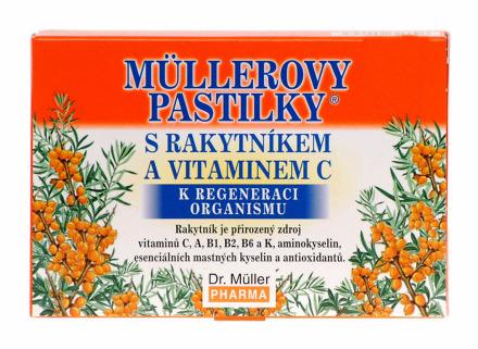 Müllerove pastilky s rakytníkom a vitamínom C 12ks