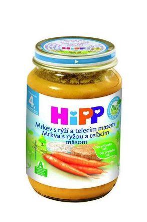 HiPP BIO Mrkva s ryžou a teľacím mäsom 190g