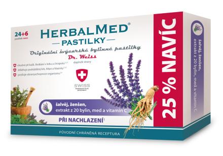 HerbalMed pastilky Dr.Weiss Šalvia+ženš.+vit.C 24+6