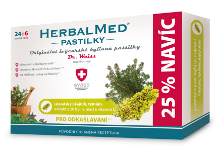 HerbalMed pastilky Dr.Weiss Isl.liš+tym+vit.C 24+6
